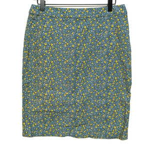 Talbots 8 Blue & Yellow Floral Dots Pencil Skirt